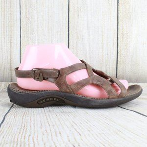 MERRELL Agave Brown Leather Strappy Sandals Size 6